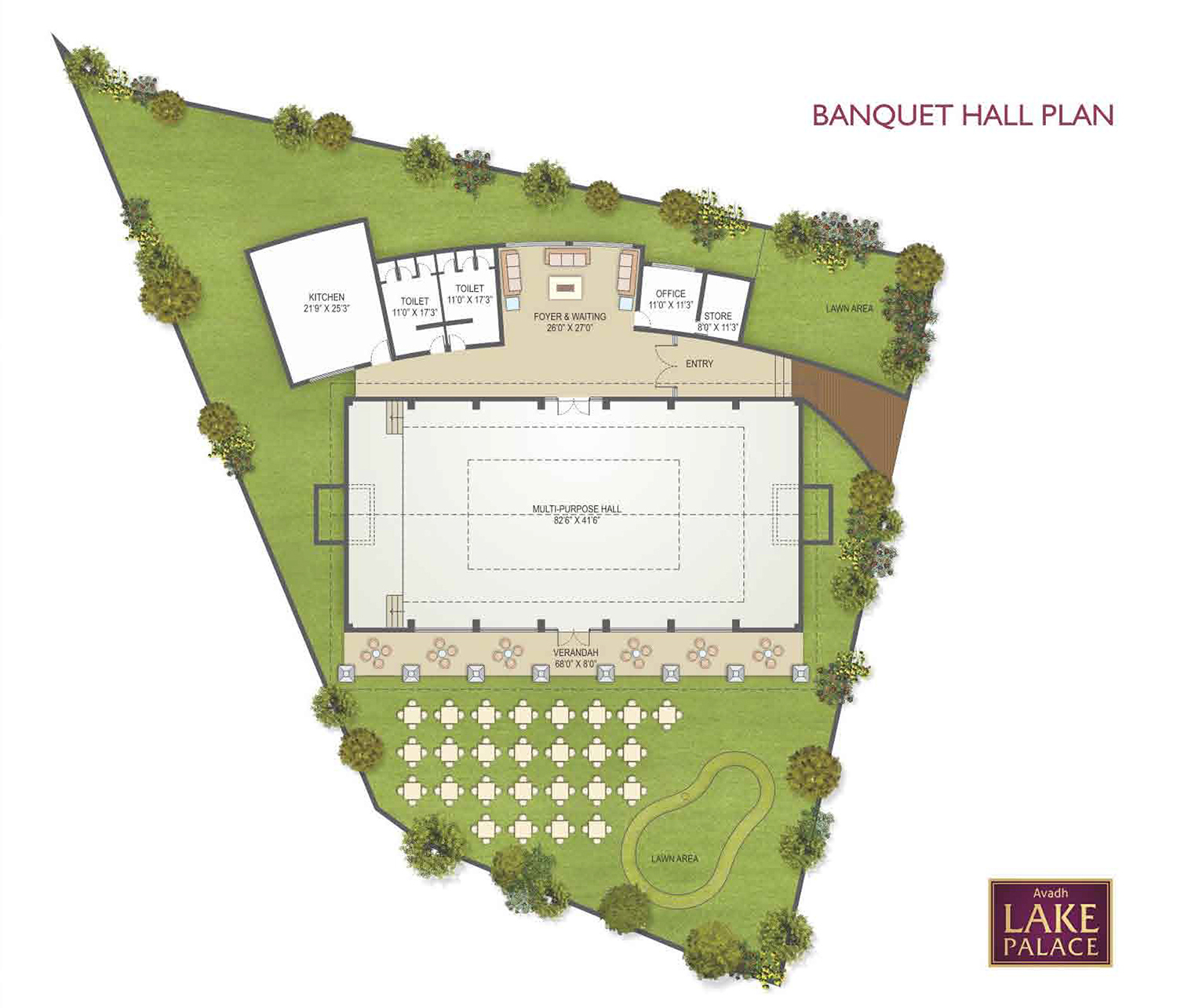 Avadh lake palace avadh group for Banquet hall floor plan